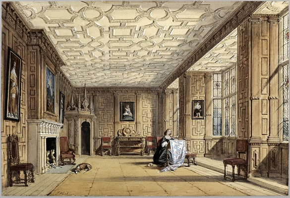 The Drawing Room at Broughton Castle, Joseph Nash