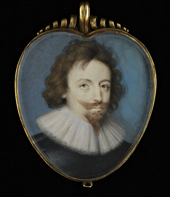 Portrait miniature of an unknown Gentleman, wearing a black doublet and white ruff, c.1620, Peter Oliver