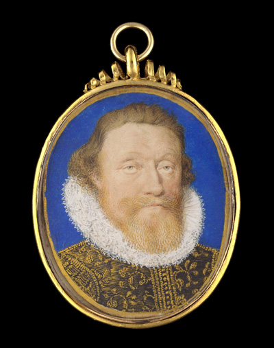 Portrait miniature of a Nobleman, wearing black doublet embroidered with gold thread and white ruff, blue bice background and gold border, Peter Oliver