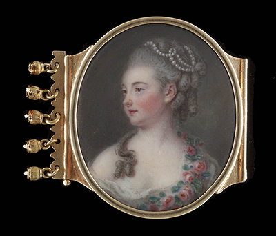 Portrait enamel of Michelle Guesnon de Bonneuil (née Sentuary) (1748-1829), wearing white gown with pink roses draped across her shoulder, her hair curled and powdered and decorated with pearls, c.1773, Attributed to Pierre Pasquier
