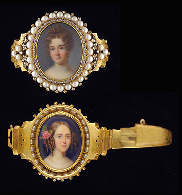 A bracelet set with two portrait miniatures of Ladies, possibly sisters, one with her hair curled, the other with a rose in her hair, Emmanuel Thomas Peter