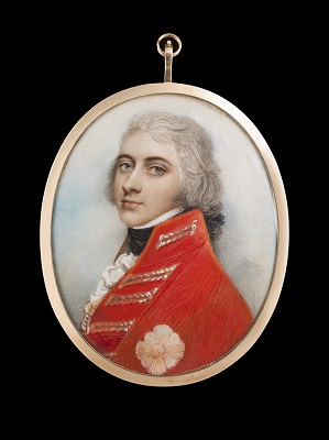 Portrait miniature of General Sir William Henry Pringle (b.c.1771-1840), wearing scarlet coat with silver lace, the order of the Bath on his chest, his hair powdered and worn en queue, Andrew Plimer