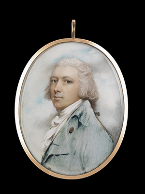 Portrait miniature of a Gentleman, wearing pale green-blue coat with brass buttons overt tied white cravat, his powdered hair worn en queue, Andrew Plimer