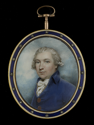 Portrait miniature of a Gentleman, wearing buff-lined blue coat with large brass buttons, white shirt, his hair powdered, c.1790, Andrew Plimer