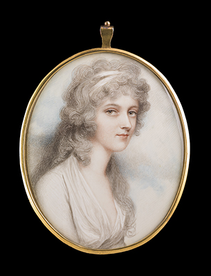 Portrait miniature of Lady Louisa Grey (1771-1830), wearing white dress and matching bandeau in her long powdered hair., Andrew Plimer
