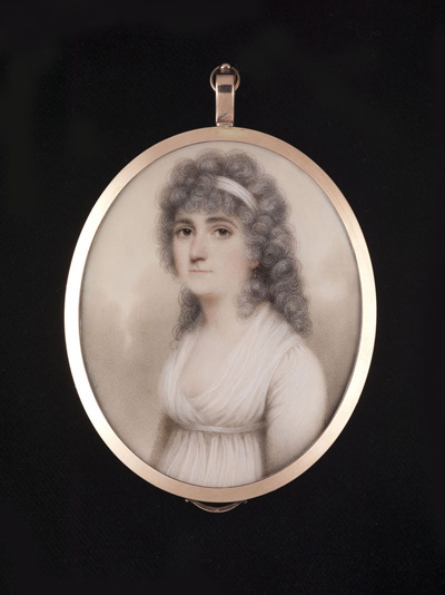 Portrait miniature of Lady Hester Astley (née Browne) (1767-1867), wearing white gown and bandeau, Nathaniel Plimer