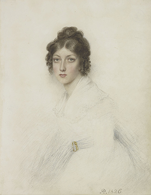 Portrait of a Lady seated wearing a white dress and a waistband with gold clasp, Andrew Plimer