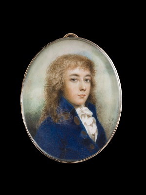 Portrait miniature of a young Man wearing a blue jacket, his hair worn long, 1786, Andrew Plimer
