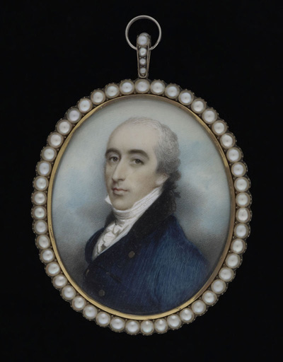 Portrait miniature of a Gentleman, wearing blue coat and white waistcoat, Andrew Plimer