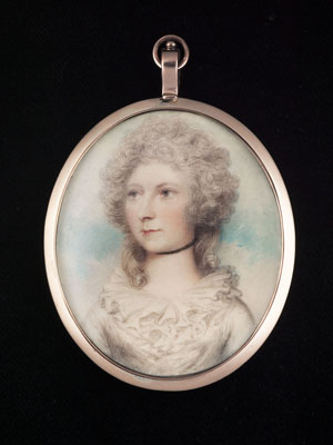Portrait miniature of an unknown Lady, wearing white dress with frilled neckline and a black ribbon choker, Andrew Plimer