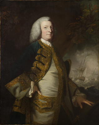 Portrait of George Anson, 1st Baron Anson (1697-1762) [The ships attributed to RICHARD WRIGHT (1735-1775?) ], Sir Joshua Reynolds PRA