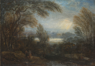 A view across the Thames from Richmond Hill, with travellers on a path, Sir Joshua Reynolds PRA, Follower of