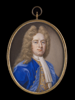 Portrait miniature of Gentleman, probably Robert Cholmeley (d.1754), wearing a blue coat and waistcoat decorated with a foliate pattern, Christian Richter