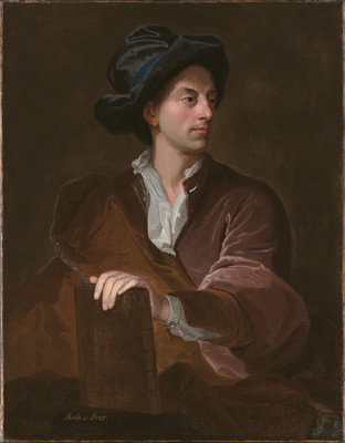 Portrait of Mathew Prior holding a book, wearing velvet coat and hat, Circle of John Francis Rigaud