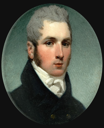 Portrait miniature of a Gentleman, wearing dark blue with brass buttons, white shirt and stock, Andrew Robertson