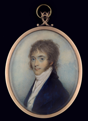 Portrait miniature of a Gentleman, wearing blue coat, white waistcoat and white tied cravat, Andrew Robertson
