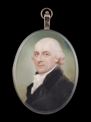 A Gentleman, wearing black coat with white stock and ruffled white chemise, his hair curled and powdered., Sampson Towgood Roch(e)