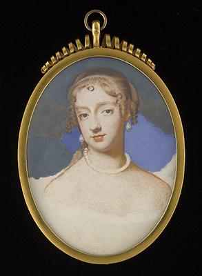 Portrait miniature of Frances Teresa Stewart, Duchess of Richmond and Lennox, 'La Belle Stuart' (1647-1702), after SAMUEL COOPER (1607/08-1672), Mrs Susan Penelope Rosse