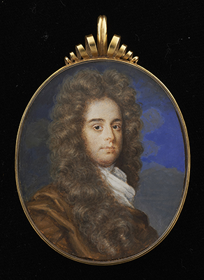 Portrait miniature of a Gentleman wearing a full-bottomed wig with white tied stock and ochre coloured cloak over his right shoulder, Mrs Susan Penelope Rosse