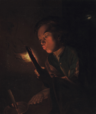 A boy blowing on the embers of a piece of wood and holding a candle, Attributed to Godfried Schalcken