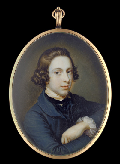 Portrait miniature of a young Gentleman, believed to be a self portrait of the artist, wearing blue jacket with matching waistcoat, white shirt with frilled cuffs and black neck tie, James Scouler
