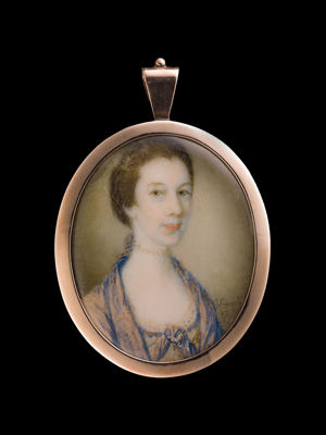 One of a pair of Portrait Miniatures of sisters, James Scouler