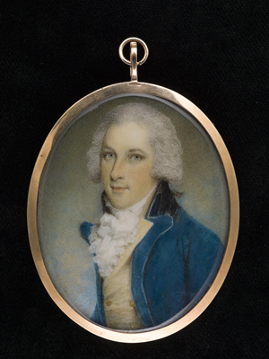 Portrait miniature of a young Gentleman, wearing blue coat and pale yellow waistcoat, his hair powdered, Samuel Shelley