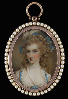 Portrait miniature of Angelica Schuyler Church (1756-1814), wearing a white dress with blue trim and lace collar, a blue hat with bow decorated with a white feather, her hair worn with hanging ringlets, Samuel Shelley