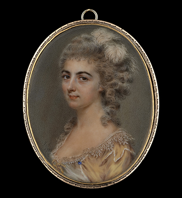 Portrait miniature of a Lady, previously identified as 'Lady Cockburn', wearing a gold dress with lace trim decorated with pearls and sapphire, her hair worn curled and powdered and decorated with white ostrich feathers, John Smart