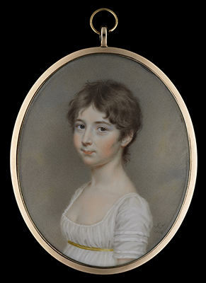 Portrait miniature of a Young Girl, possibly Miss E. Lambert, wearing a décolleté white dress with thin gold waistband, her hair worn short, John Smart