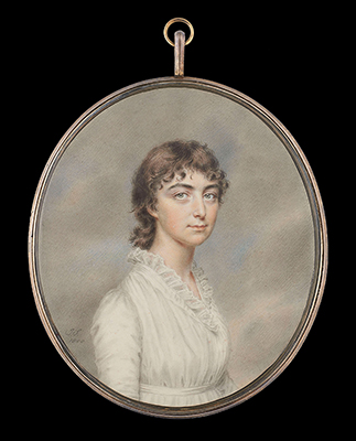 Portrait miniature of a Lady, traditionally identified as 'Mrs Abernethy', wearing white muslin dress trimmed with a frill at the neck and a narrow sash, her curled hair worn short, 1800, John Smart