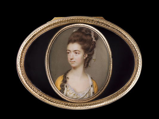 Portrait miniature of Ann Hurlock (d.1837) mounted in a Louis XVI tortoiseshell and gold snuffbox, John Smart