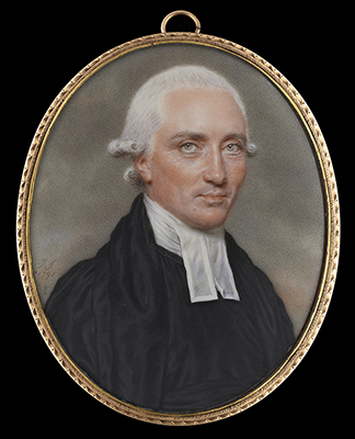 Portrait miniature of a Chaplain, probably Archdeacon Richard Leslie (1748-1804), wearing black robes and white bands, his hair powdered, John Smart