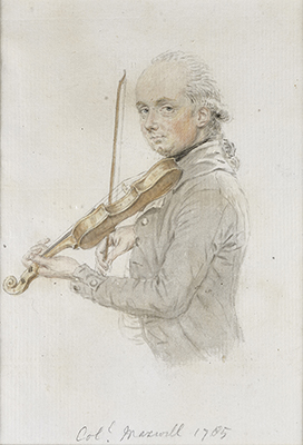 Portrait of Colonel Maxwell playing the violin, John Smart