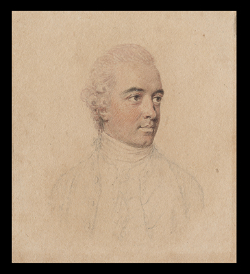A Gentleman, wearing jacket worn open with waistcoat and cravat, his pink powdered hair worn en queue, John Smart