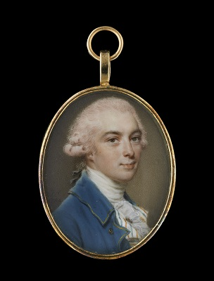 A portrait miniature of a Gentleman wearing a blue coat with gold border and buttons, striped waistcoat, white frilled cravat, gold tie pin and powdered hair worn en queue, John Smart