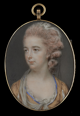 Portrait miniature of a Lady, identified as Harriet Blanshard (née Gale) (1745-1822), wearing low-cut blue trimmed gold dress with lace collar, John Smart