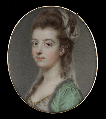 Portrait miniature of a Lady, wearing green coat with fur trim, white dress trimmed with gold, upswept curling brown hair decorated with white gauze, 1776, John Smart