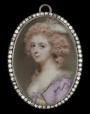 Portrait miniature of a Lady, wearing fur-bordered mauve dress with embroidered pointed lace collar, a pearl-bordered yellow bodice with mauve bow, her pink-powdered hair worn curled and decorated with an ostrich feather, John Smart