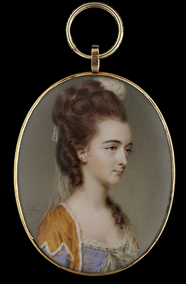 Portrait miniature of a Lady, wearing bolero edged with white fur and lilac dress trimmed with jewels, her upswept hair decorated with an ostrich feather and pearls, an embroidered veil falling at her back and pinned at her corsage, John Smart