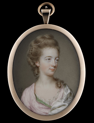 Portrait miniature of a Lady, wearing lace-edged pink dress with green lining and white satin mantle, her hair worn up and decorated with pearls with a falling ringlet around her neck, John Smart