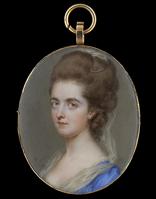 Portrait miniature of a Lady, possibly of the Hay family, wearing blue dress trimmed with lace, her hair worn upswept and decorated with pearls and white gauze, John Smart