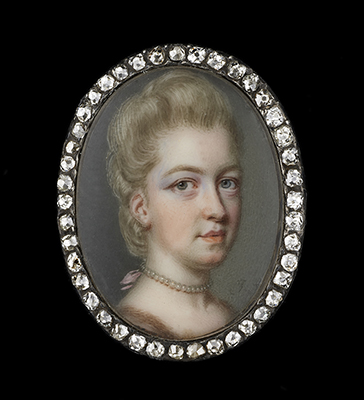 Portrait miniature of a Lady, probably Lady Lucy Douglas (née Graham) (1751-1780), wearing fur-trimmed dress with pearl choker tied at the back with pink ribbon, her powdered hair upswept, John Smart
