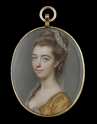 Portrait miniature of a Lady, wearing a gold dress lined with pearls, her upswept hair entwined with plaits and decorated with pearls and a white gauze veil, John Smart