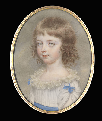 Portrait miniature of Miss Mary Bathurst, wearing white dress with frilled lace collar, blue waistband and blue bows on her shoulders, her auburn hair curled, John Smart