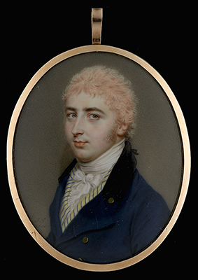 A young Gentleman, wearing dark blue coat with black collar, yellow and blue striped waistcoat, his pink powdered hair tied with a black ribbon and worn en queue, 1800, John Smart