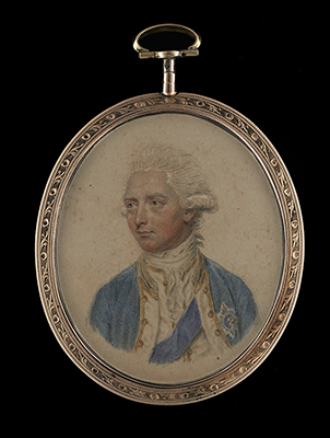 Prince Henry, Duke of Cumberland and Strathearn (1745-1790), brother of King George III, wearing gold-edged blue frock coat, gold-edged white waistcoat and the blue sash and badge of the Order of the Garter, John Smart