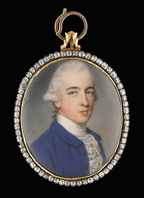 Portrait miniature of Richard Twining (1749-1824), wearing blue coat, his waistcoat embroidered with flowers and gold thread, lace cravat, his powdered hair worn en queue, John Smart