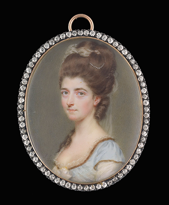 Portrait miniature of a Lady, wearing white satin dress under a blue overdress edged with fur and lace, a bow at her corsage, her upswept hair dressed with pearls and tulle, John Smart