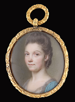 Portrait miniature of a Young Lady, wearing a pearl-bordered white dress and fur-edged blue overcoat, unswept hair, John Smart